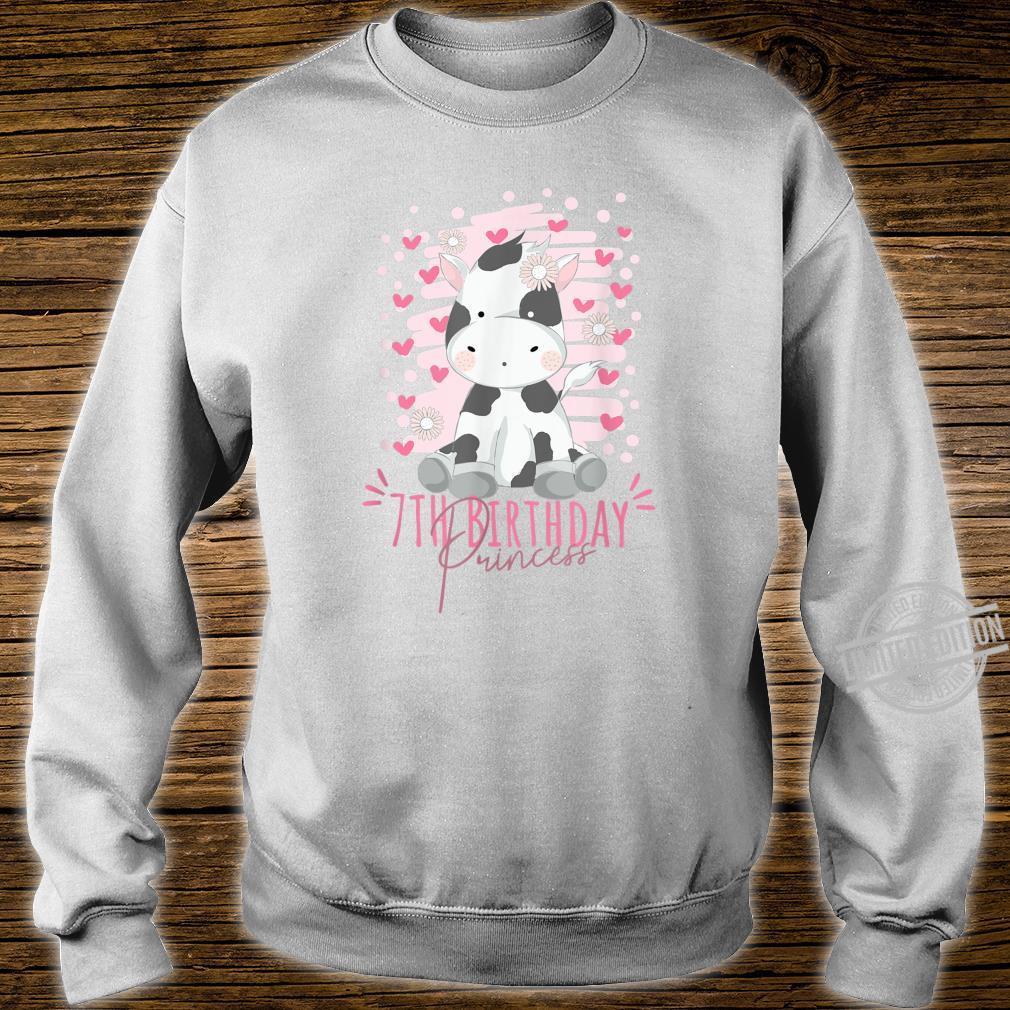 7th Birthday Princess Girl 7 Years Old Cow BDay Shirt sweater