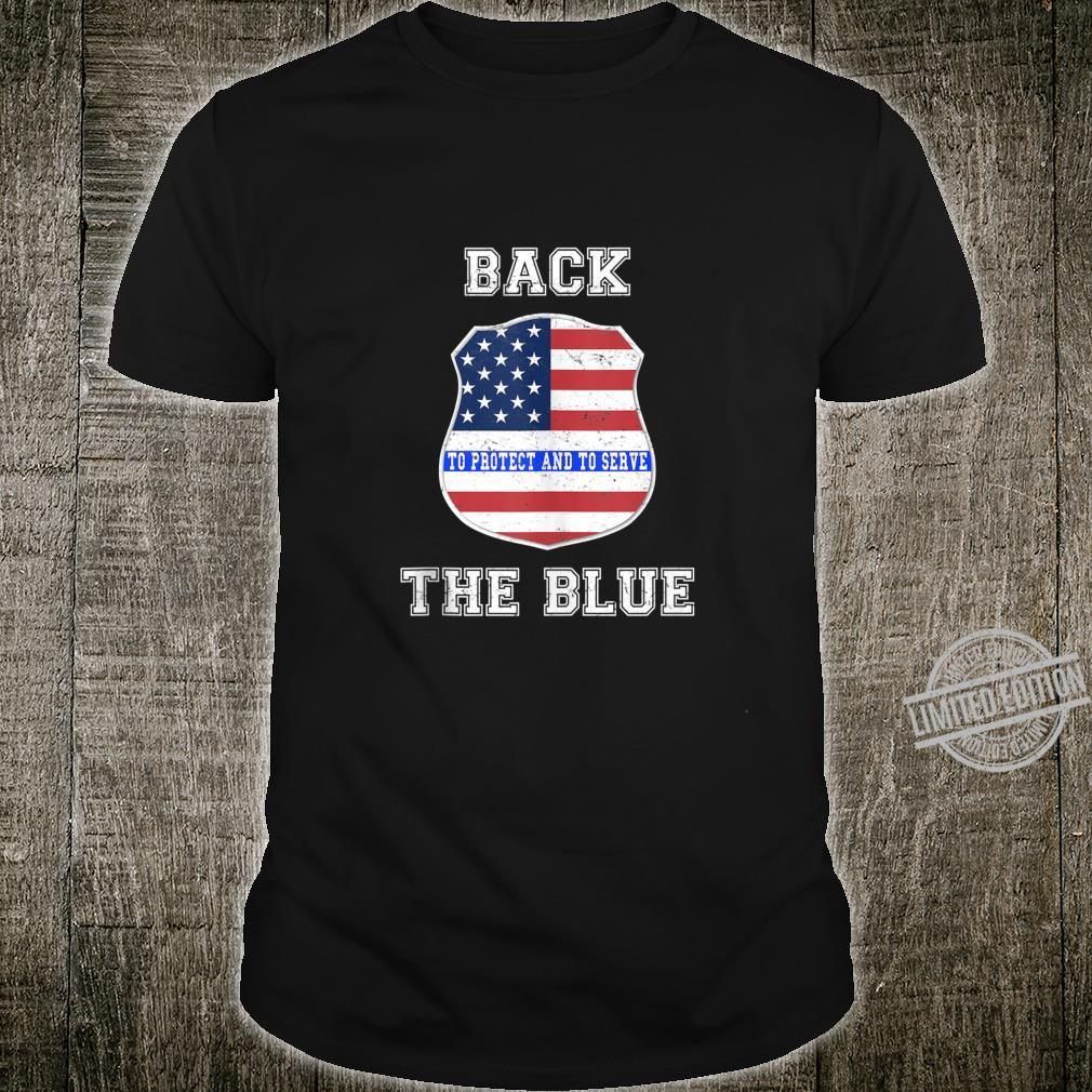 Back The Blue, Support the Thin Blue Line, US Flag, Badge Shirt