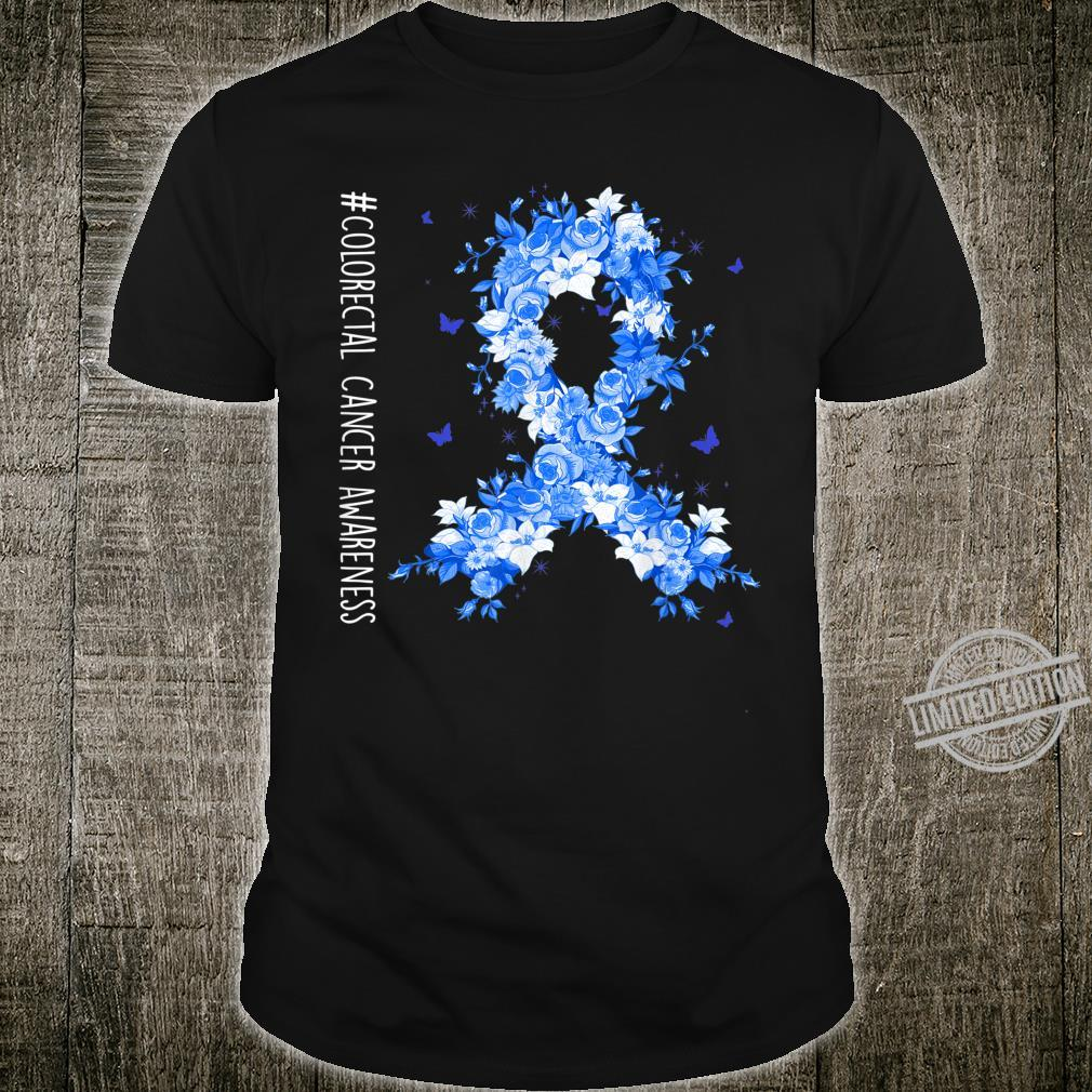Colorectal Cancer Awareness Flower Dark Blue Ribbon Costumes Shirt