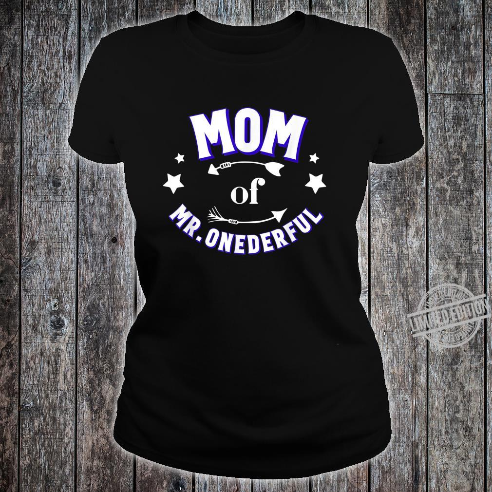 Cute Mom of Mr Onederful 1st Birthday Boy Matching Shirt ladies tee
