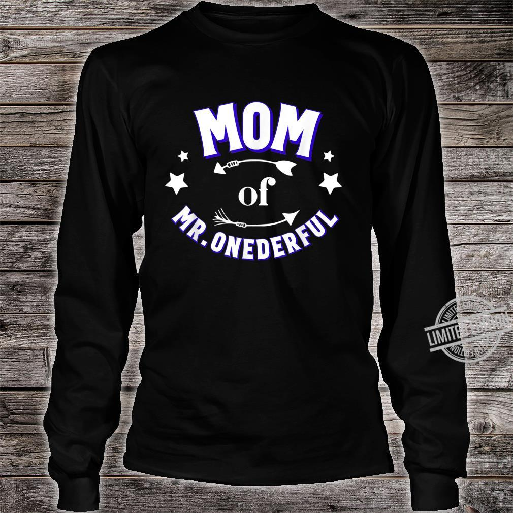 Cute Mom of Mr Onederful 1st Birthday Boy Matching Shirt long sleeved