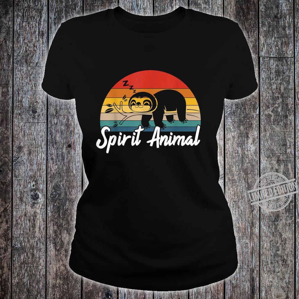 Cute Sloth Is My Spirit Animal Vintage Lazy People Nap Sleep Shirt ladies tee