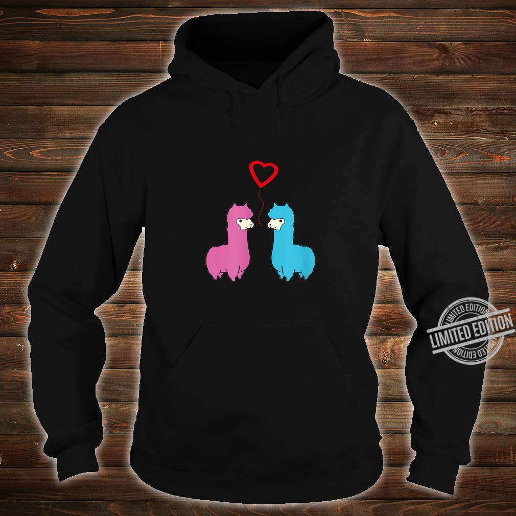 Cute male and female alpaca sharing romantic moment heart Shirt hoodie