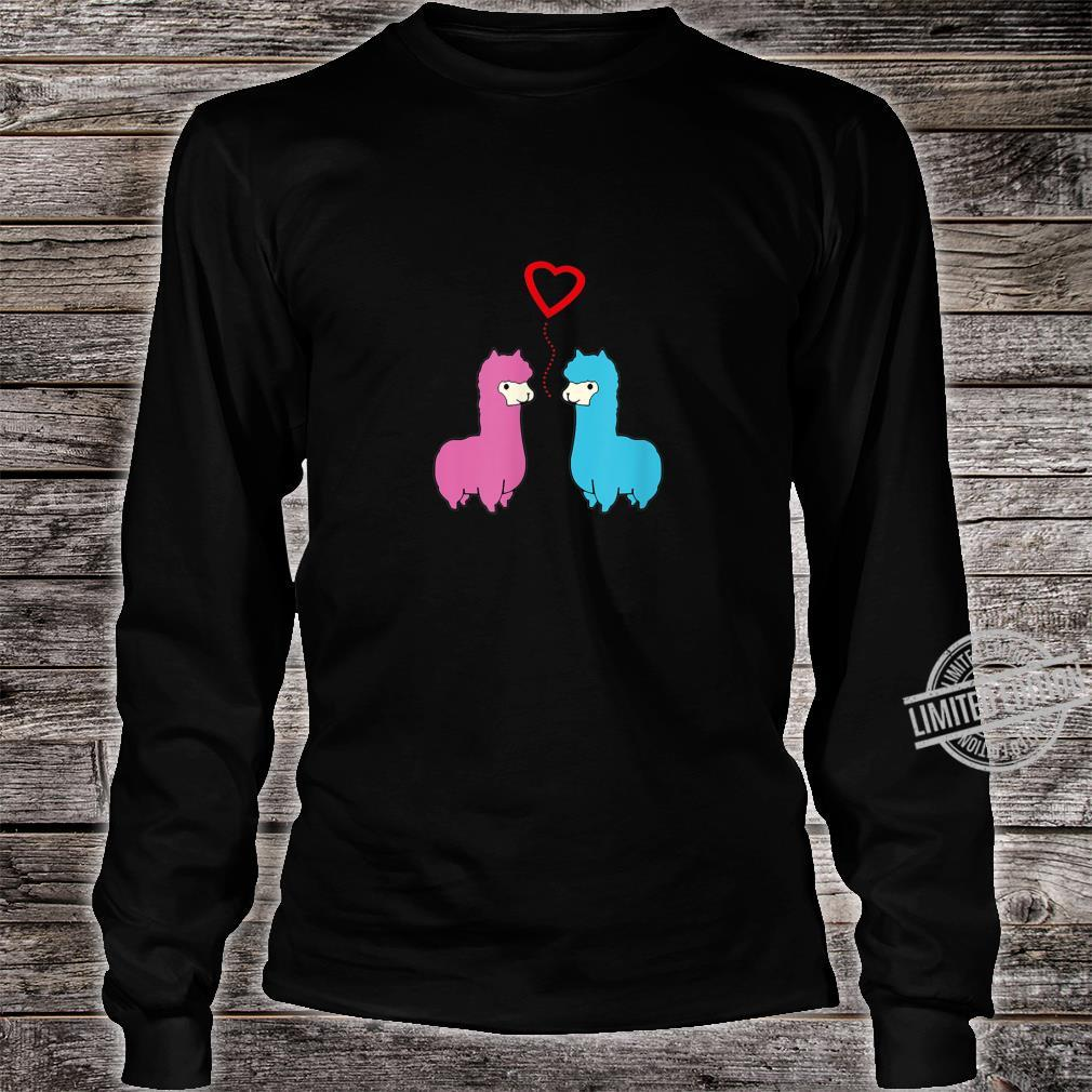 Cute male and female alpaca sharing romantic moment heart Shirt long sleeved