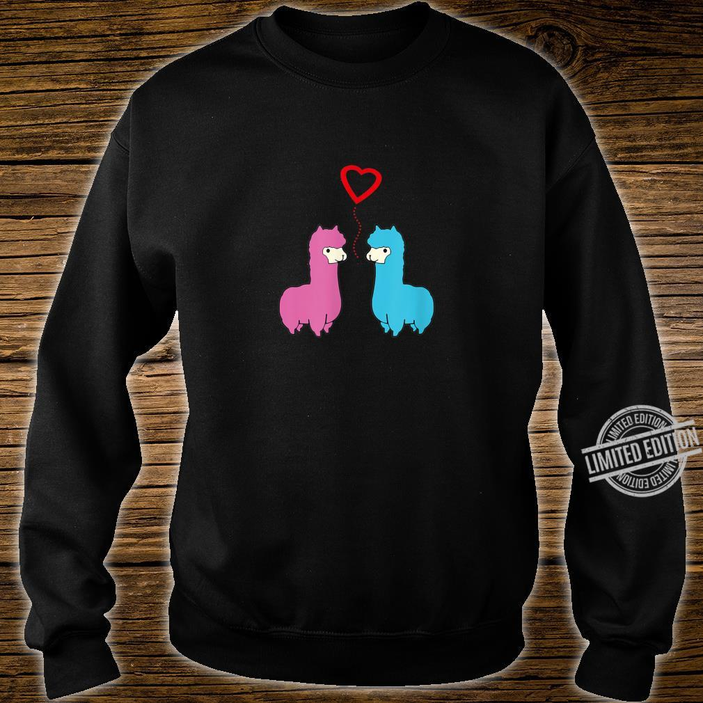 Cute male and female alpaca sharing romantic moment heart Shirt sweater