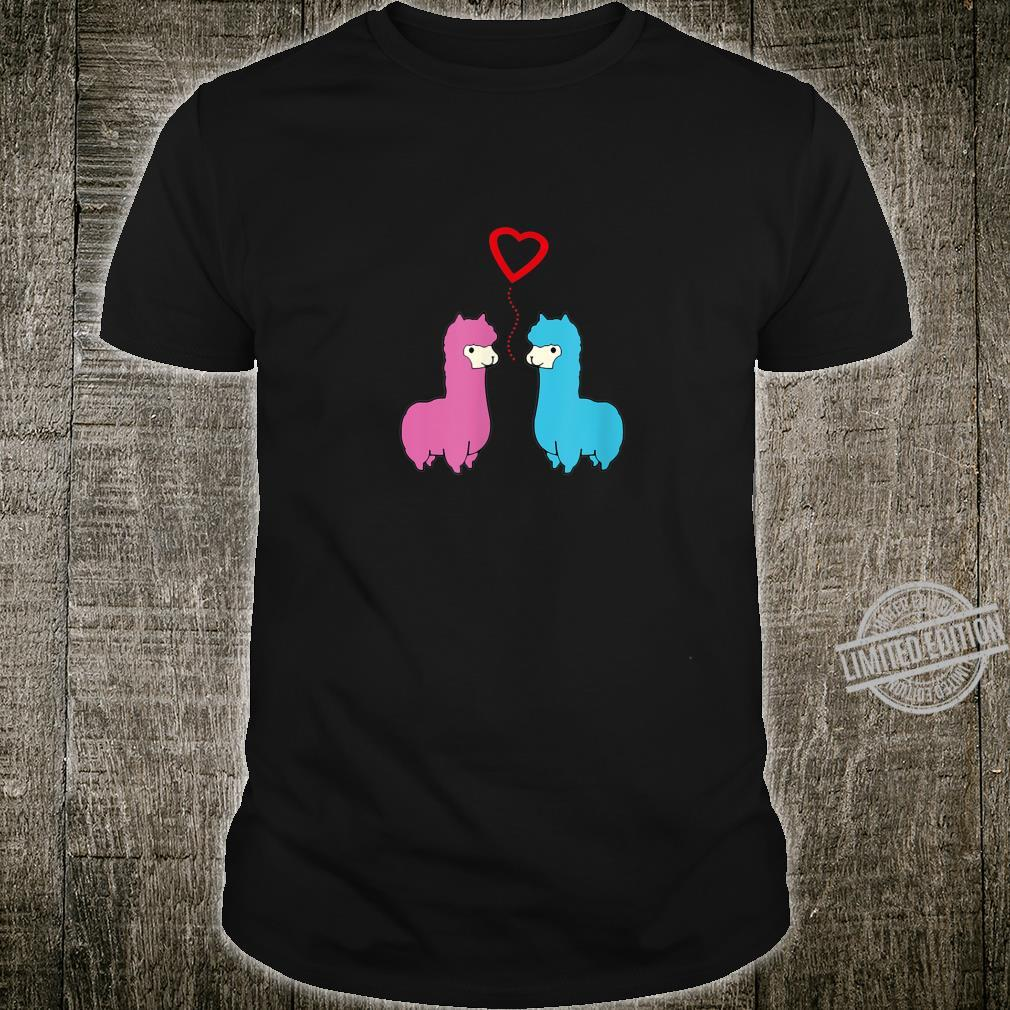 Cute male and female alpaca sharing romantic moment heart Shirt