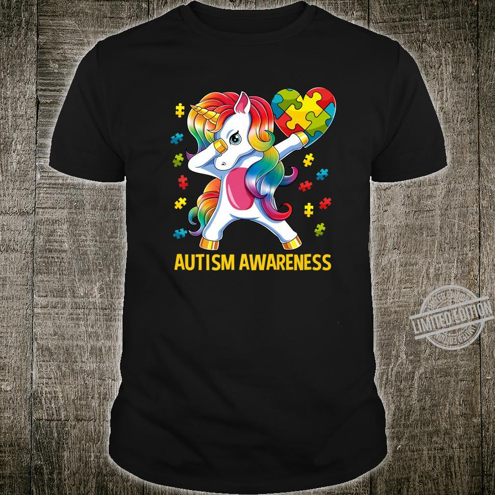 Dabbing Unicorn Autism Awareness Puzzle Piece Heart Shirt