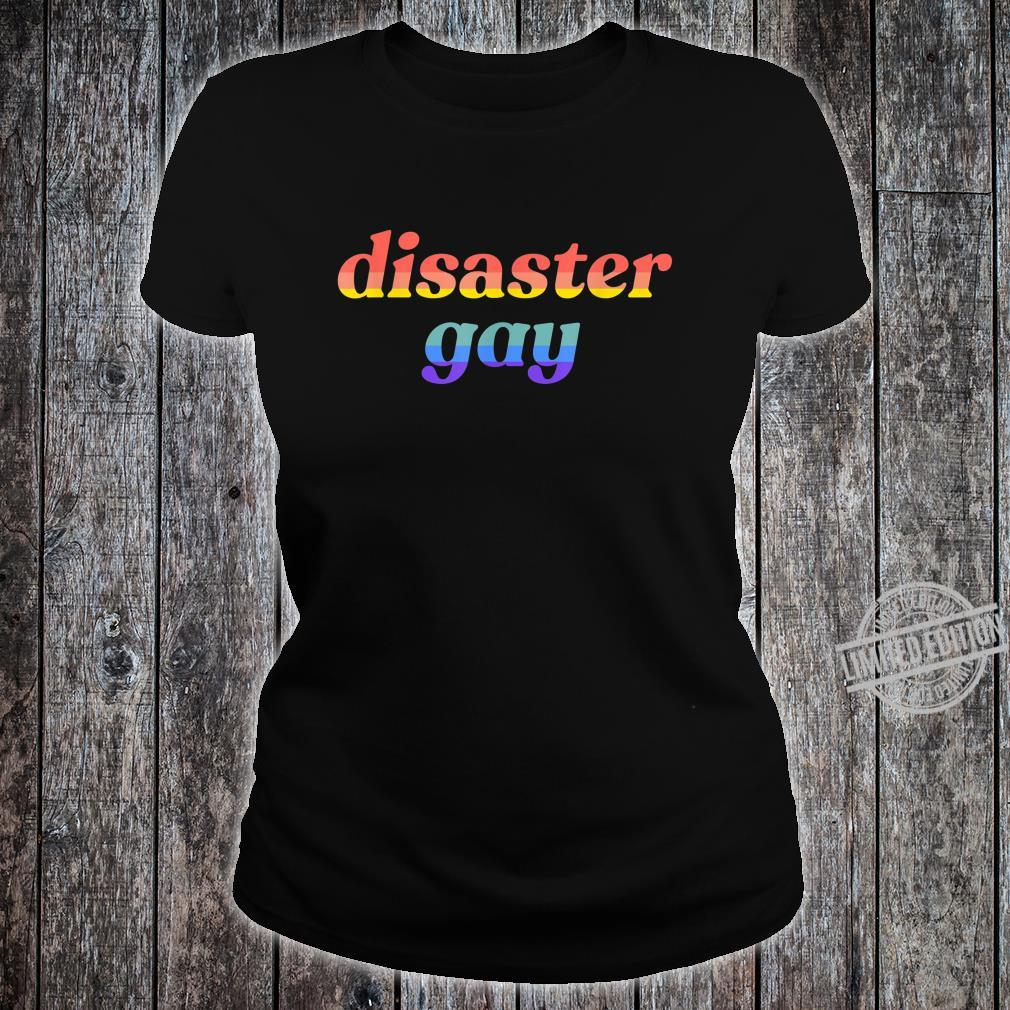 Disaster Gay LGBTQ Lesbian Pride Flag Meme Shirt ladies tee