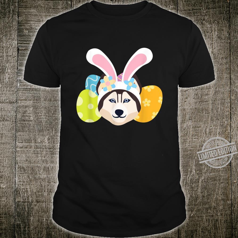 Funny Bunny Husky Dog Loves Eggs Happy Easter Day Shirt
