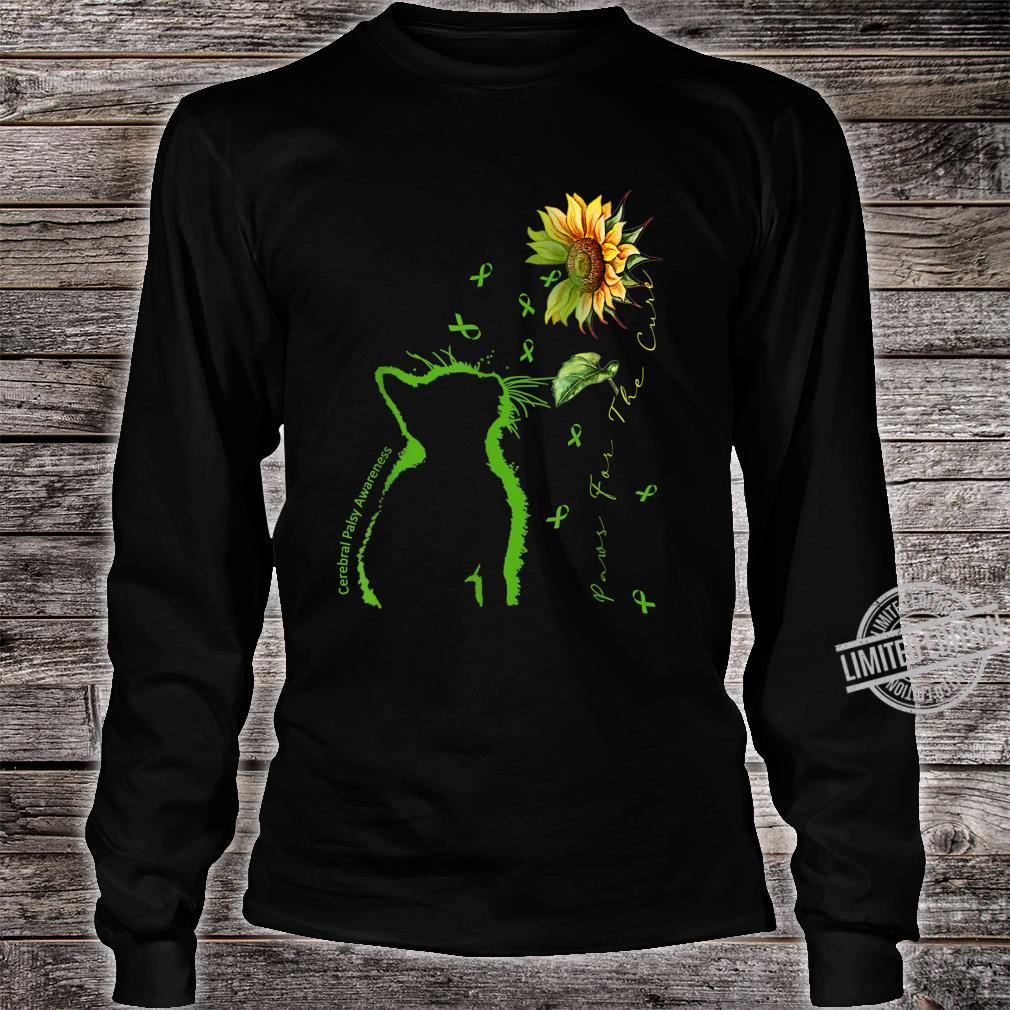 Green Cat Paws For The Cure Cerebral Palsy Awareness Shirt long sleeved