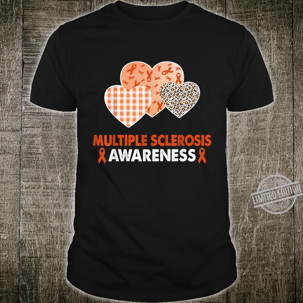 Heart Leopard Ribbon Multiple Sclerosis Awareness Costume Shirt