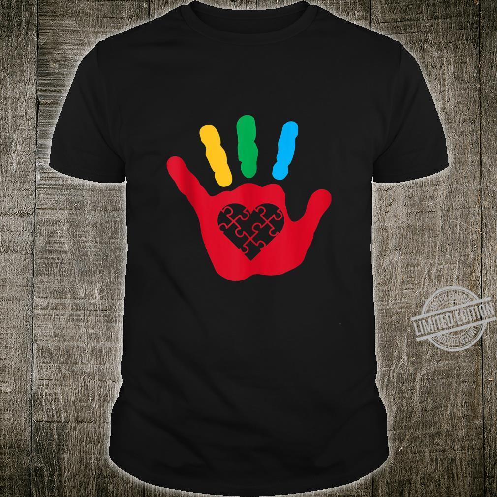 Heart Puzzle Piece Hand Love Cool Autism Awareness Shirt
