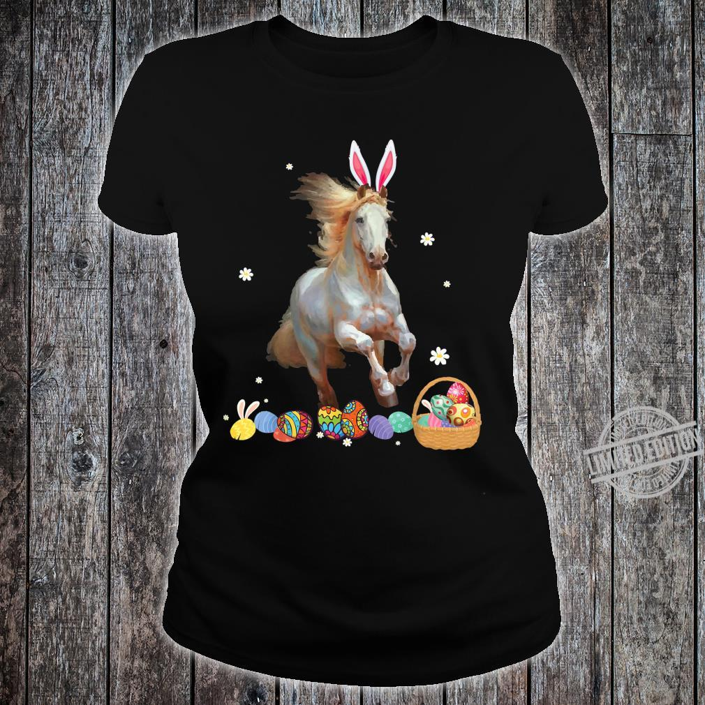 Horse And Bunny Rabbit Easter Eggs Happy Day Shirt ladies tee