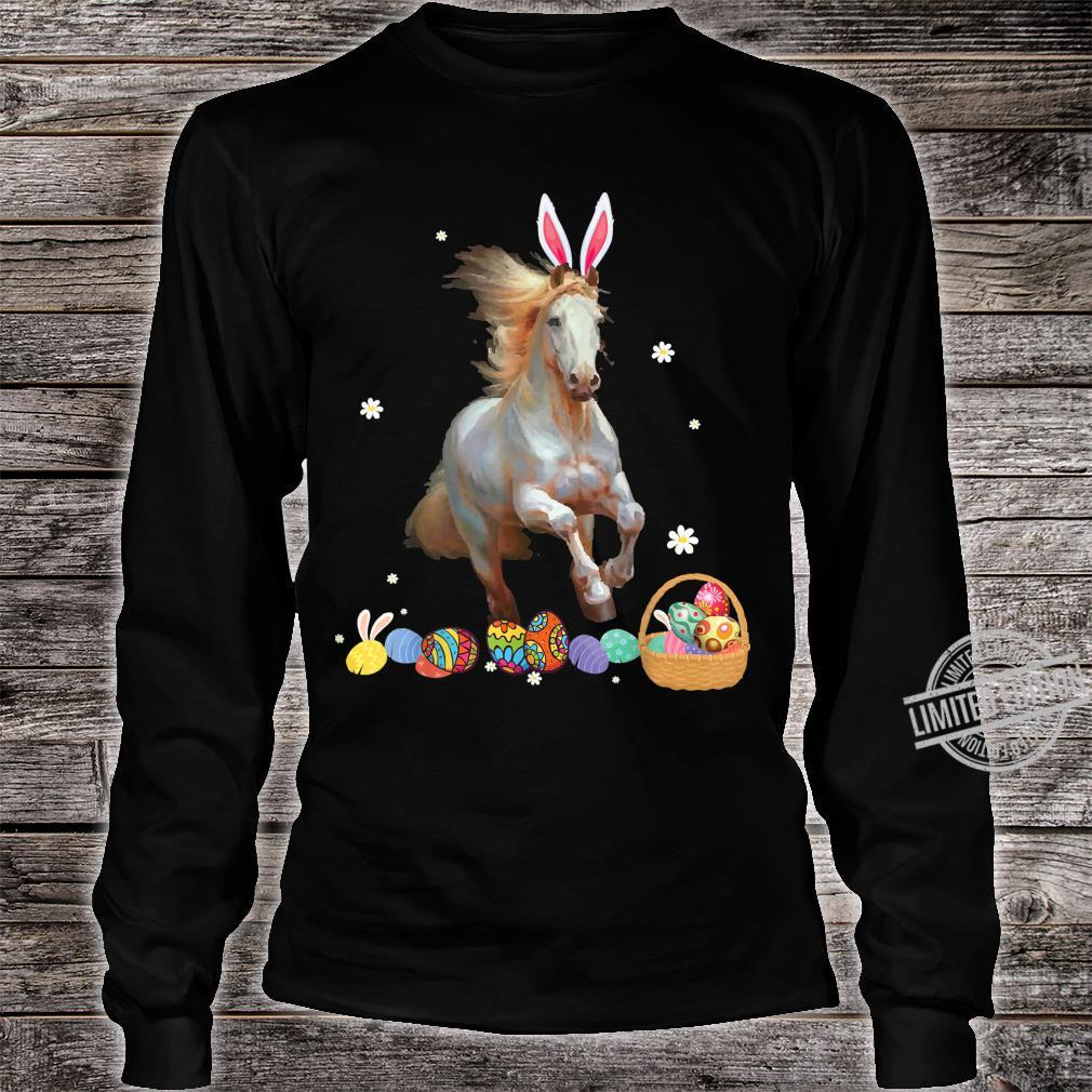 Horse And Bunny Rabbit Easter Eggs Happy Day Shirt long sleeved