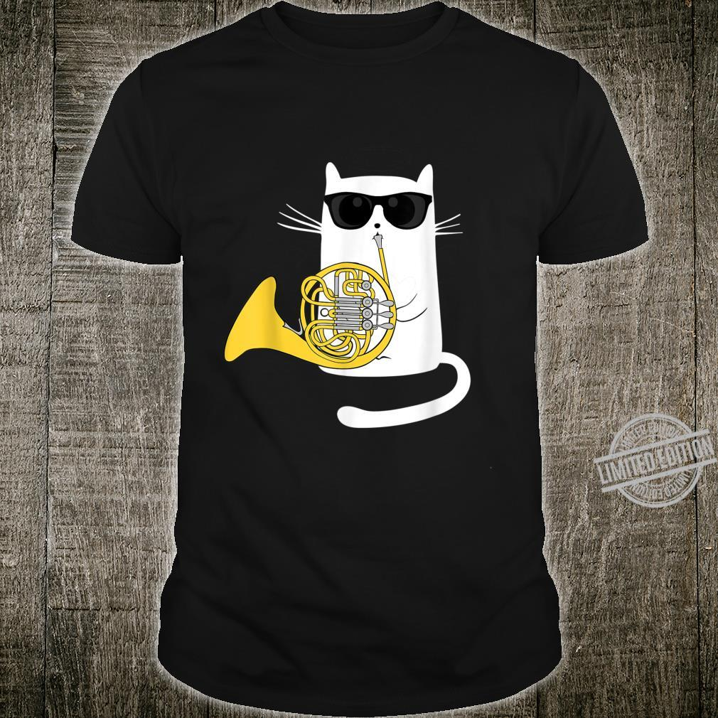 Jazz Cat Playing French Horn Cool Smooth Shirt