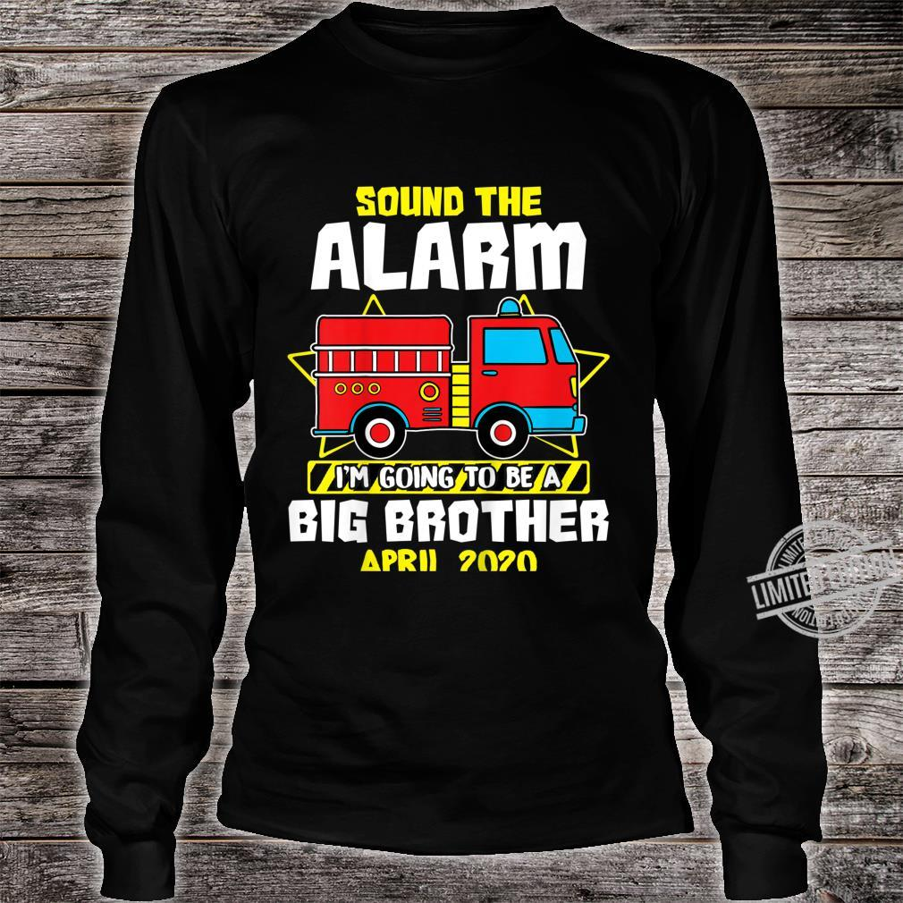 Kids Sound The Alarm Going To Be A Big Cute Brother Apr 2020 Shirt long sleeved