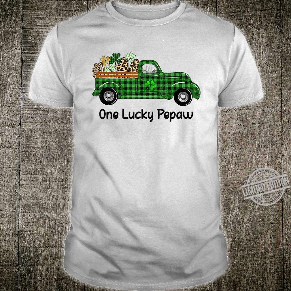 Mens One Lucky Pepaw Green Plaid Truck Shamrocks St Patrick's Day Shirt