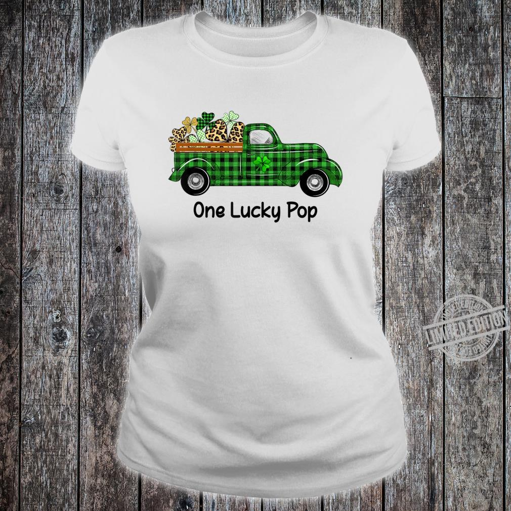 Mens One Lucky Pop Green Plaid Truck Shamrocks St Patrick's Day Shirt ladies tee