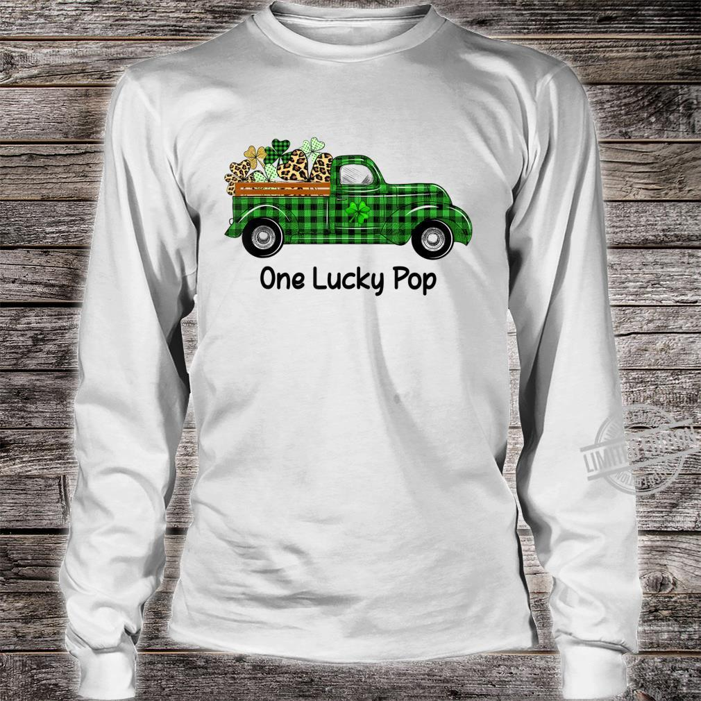 Mens One Lucky Pop Green Plaid Truck Shamrocks St Patrick's Day Shirt long sleeved