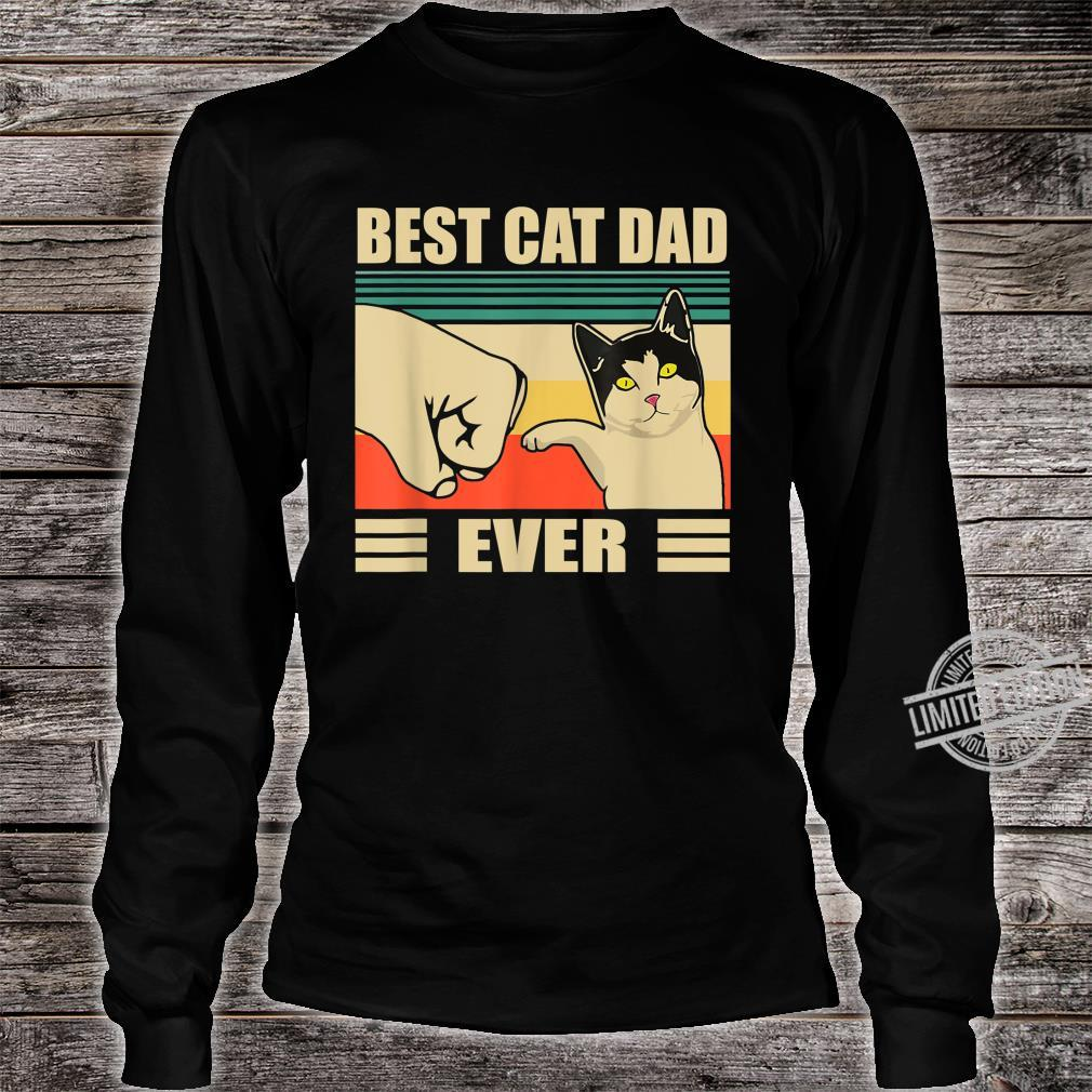 Mens Vintage Bump Fit Best Cat Dad Ever Cat Dad Father Shirt long sleeved