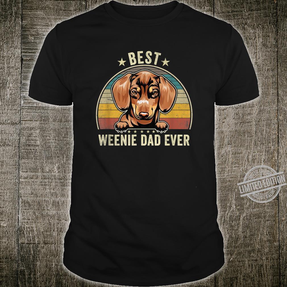 Mens Vintage Red Dachshund Best Weenie Dad Daddy Papa Shirt
