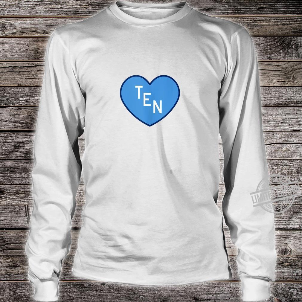 TEN Tennessee Football Girly Football Fan Heart TN Shirt long sleeved