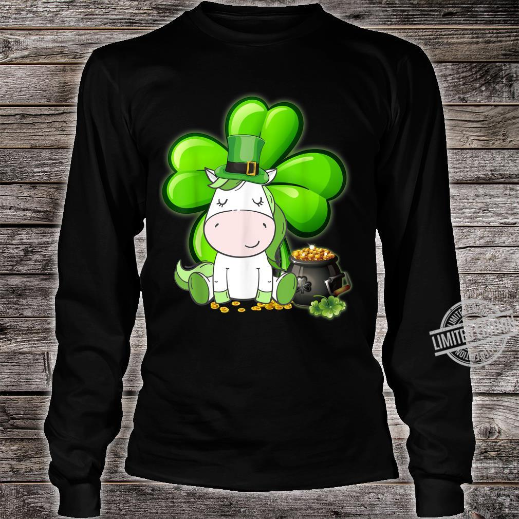 Unicorn Shamrock St Patricks Day Leprechaun Dog Shirt long sleeved