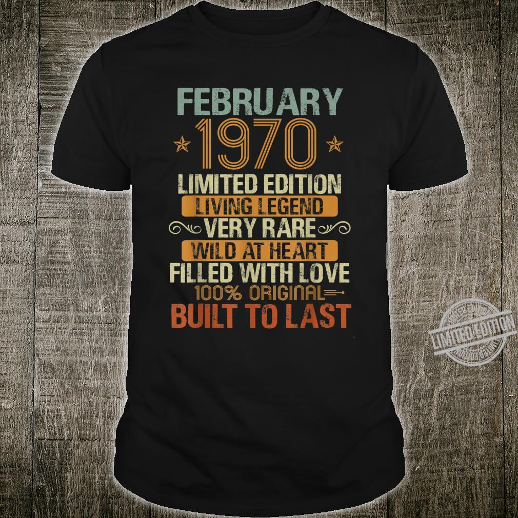 Vintage 50 Years Old February 1970 50th Birthday Ideas Shirt
