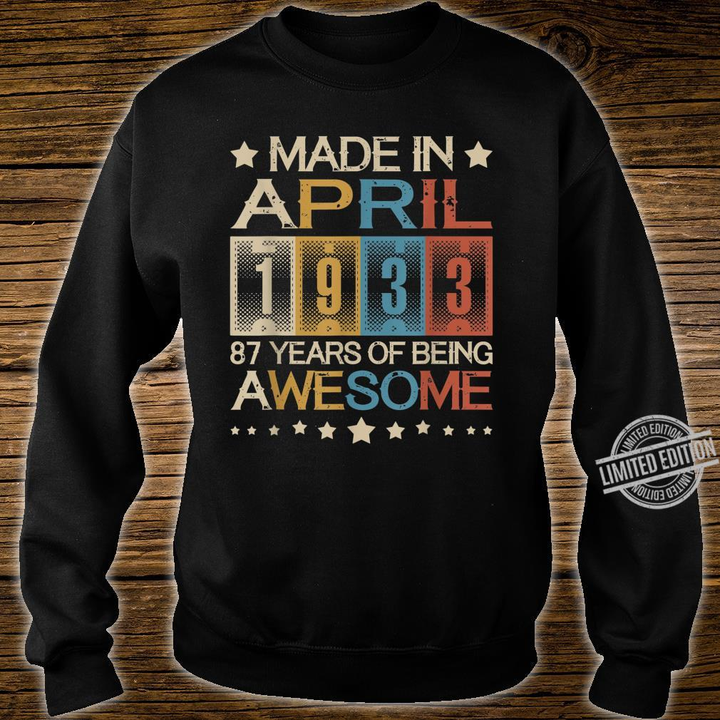 Vintage Made In April 1933 87 Years Old 87th Birthday Shirt sweater