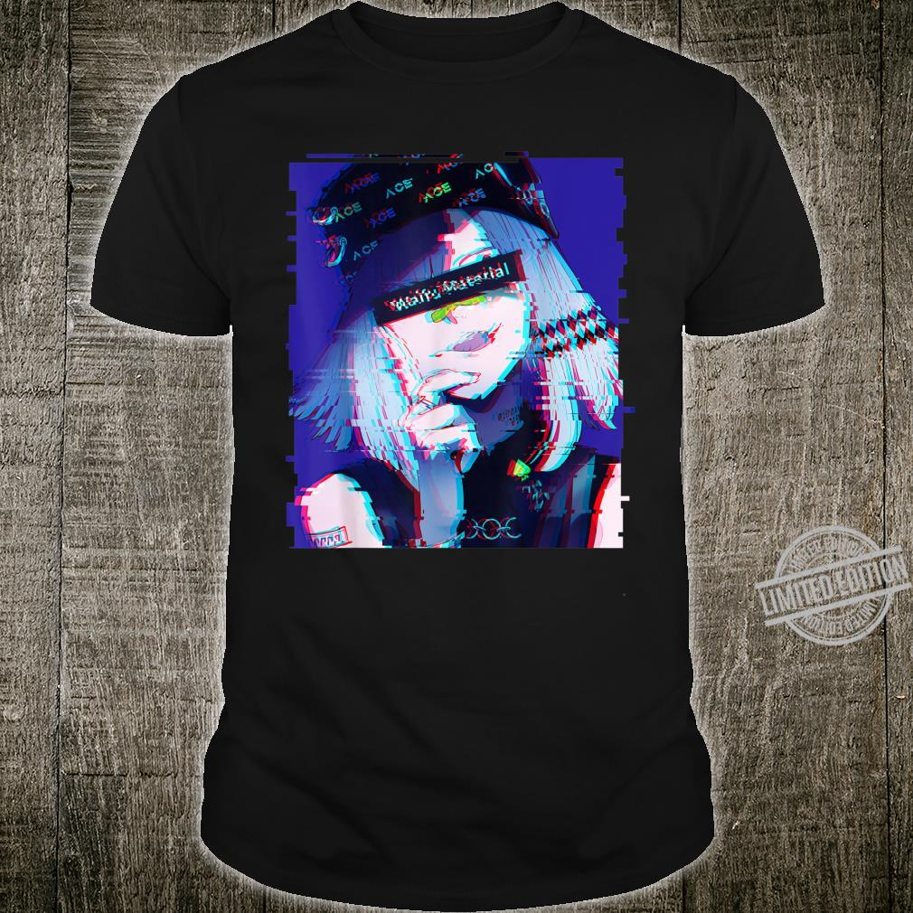 Waifu Anime Girl Glitch Retro 80s Vaporwave Anime Aesthetic Shirt