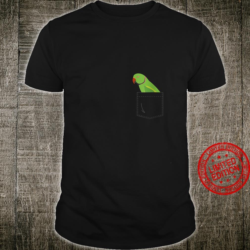 Womens Indian Ringneck Male Parakeet Parrot Fake Pocket Shirt