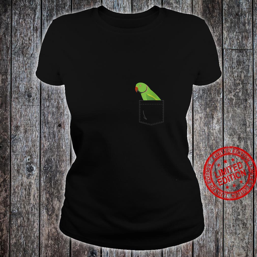 Womens Indian Ringneck Male Parakeet Parrot Fake Pocket Shirt ladies tee
