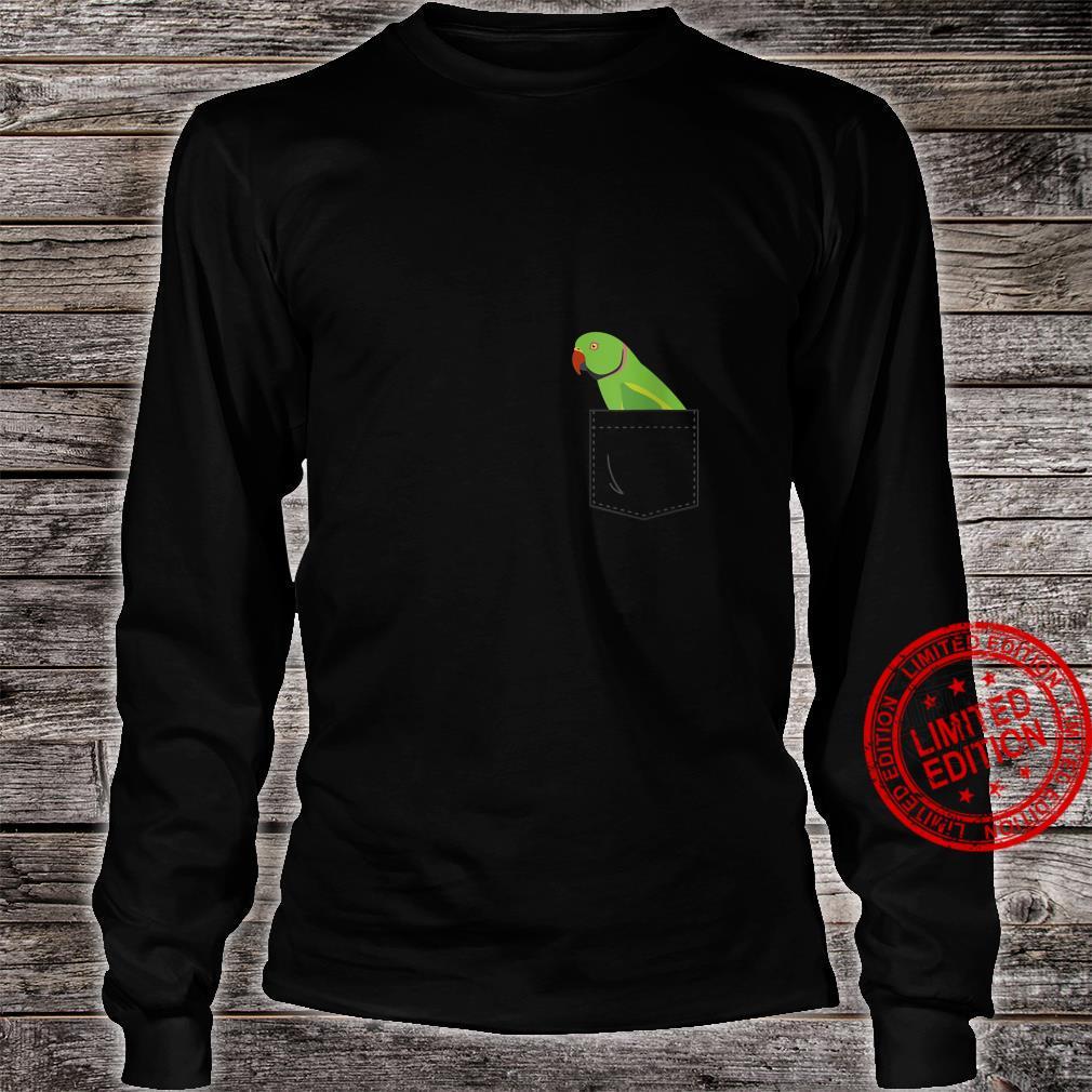 Womens Indian Ringneck Male Parakeet Parrot Fake Pocket Shirt long sleeved