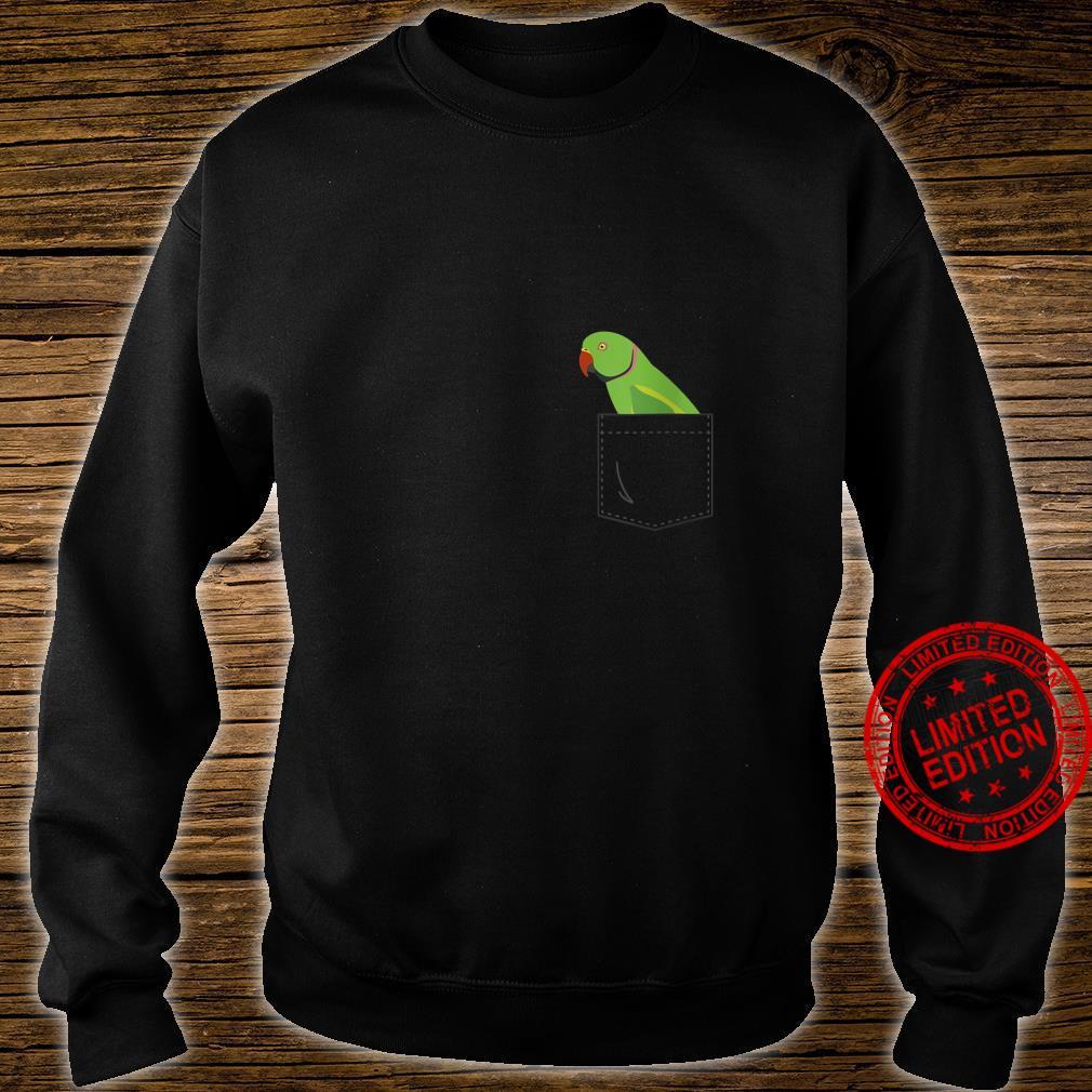 Womens Indian Ringneck Male Parakeet Parrot Fake Pocket Shirt sweater